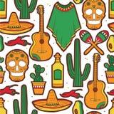 Kleurrijk naadloos patroon met inzameling van Mexicaanse symbolen stock illustratie