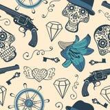 Kleurrijk naadloos patroon met kanonnen, diamanten en royalty-vrije illustratie