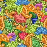 Kleurrijk naadloos patroon met lotuses, paisleys en bladeren in g royalty-vrije illustratie