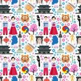 Kleurrijk naadloos patroon met symbolen van Zuid-Korea stock illustratie