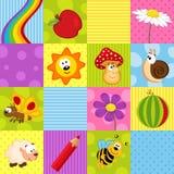 Kleurrijk naadloos patroon met vierkanten Stock Foto