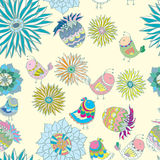 Kleurrijk naadloos patroon met vogels in bloemen Stock Fotografie