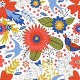 Kleurrijk naadloos patroon met vogels en het bloeien Stock Afbeelding