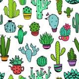 Kleurrijk Naadloos Patroon van Cactus vector illustratie
