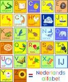 Kleurrijk Nederlands Nederlands-alfabet met beelden en titels voor kinderenonderwijs vector illustratie