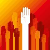 Kleurrijk omhooggaand handconcept democratie Stock Foto's