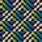Kleurrijk optische illusie naadloos groen en blauw geometrisch vectorpatroon Het ontwerp van het oppervlaktepatroon stock illustratie