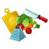 Kleurrijk organisch ontwerpconcept met inzameling van verse groenten in grappige stijl Royalty-vrije Stock Afbeeldingen