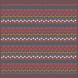Kleurrijk ornament, bruine witte rode gele blauwgroene vector endl Stock Foto