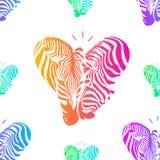 Kleurrijk paar gestreept hoofd in hartvorm Stock Fotografie