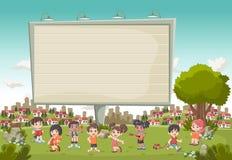 Kleurrijk park in de stad met het grote aanplakbord en beeldverhaalkinderen spelen stock illustratie