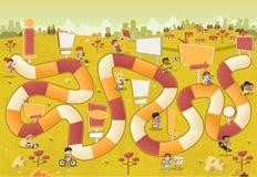 Kleurrijk park met beeldverhaalkinderen die over een raadsspel spelen vector illustratie