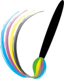 Kleurrijk penseel met verfplons Royalty-vrije Stock Afbeeldingen