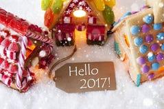 Kleurrijk Peperkoekhuis, Sneeuwvlokken, Tekst Hello 2017 Stock Foto