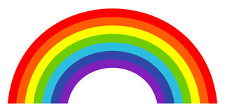 Kleurrijk in pictogram van regenboog Vector illustratie Stock Foto