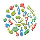Kleurrijk pictogramvoedsel Stock Foto's