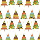 Kleurrijk pijnboom naadloos patroon Stock Afbeeldingen