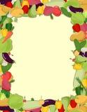 Kleurrijk plantaardig kader, gezond voedselconcept Vector illustrat Stock Fotografie