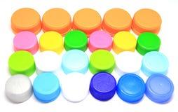 Kleurrijk plastic deksel Stock Foto's