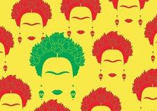 Kleurrijk portret als achtergrond van Mexicaan of Spaanse, minimalistische Frida Kahlo met oorringenschedels, Stock Afbeelding