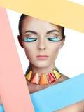 Kleurrijk portret van schoonheid Stock Afbeelding