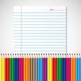 Kleurrijk potlood op document blad Royalty-vrije Stock Afbeeldingen