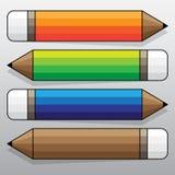 Kleurrijk Potloodetiket, het Vectorwerk Stock Fotografie
