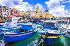 Kleurrijk Procida-eiland in Campania, Italië stock afbeelding