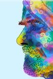 Kleurrijk profiel van de gebaarde mens met tulband Royalty-vrije Stock Fotografie