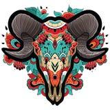 Kleurrijk Ram Skull Royalty-vrije Stock Foto