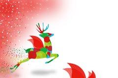 kleurrijk rendier die abstracte linkerachtergrond vliegen Stock Foto