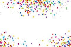 Kleurrijk rond die confettienkader op witte achtergrond wordt geïsoleerd royalty-vrije illustratie