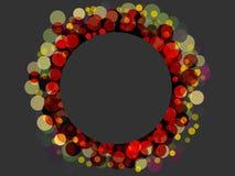Kleurrijk rond kader van bokeh op de grijze achtergrond Stock Afbeelding