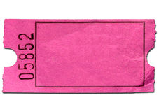 Kleurrijk roze leeg toelatingskaartje. Stock Foto