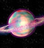 Kleurrijk Saturn in ruimte stock illustratie