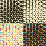 Kleurrijk Schedelshoofd op Zwarte of Witte Achtergrond Stock Fotografie