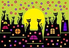 De illustratie van de lente met kattensilhouetten Stock Foto