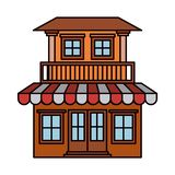 Kleurrijk silhouet van huis met twee vloeren met balkon en het afbaarden royalty-vrije illustratie