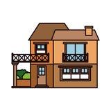 Kleurrijk silhouet van huis met twee vloeren met balkon en schoorsteen stock illustratie