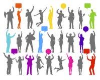 Kleurrijk silhouet van verheugde bedrijfsmensen Stock Afbeeldingen