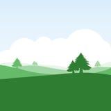 Kleurrijk silhouetlandschap van platteland Royalty-vrije Stock Foto