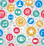 Kleurrijk sociaal media EPS10 van het pictogrammen naadloos patroon FI als achtergrond Stock Afbeelding