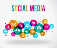 Kleurrijk sociaal netwerkpictogram Stock Afbeeldingen