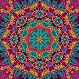 Kleurrijk Stammen Etnisch Feestelijk Abstract Bloemen Vectorpatroon stock illustratie
