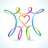 Kleurrijk stel swirly paar met hart voor Stock Afbeelding