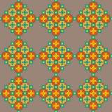 Kleurrijk stikkend naadloos patroon op een beige achtergrond Stock Afbeelding