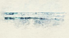Kleurrijk Strand en zeewater op waterverf het schilderen achtergrond royalty-vrije stock foto
