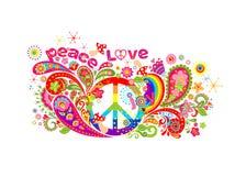 Kleurrijk T-shirtontwerp met het symbool van de hippievrede, abstracte bloemen, paddestoelen, Paisley en regenboog op witte achte Stock Fotografie