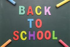 Kleurrijk terug naar Schoolalfabet met kleurrijk krijt op blackboa Royalty-vrije Stock Foto
