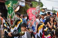Kleurrijk Thais festival Phi Ta Khon 2017 Royalty-vrije Stock Afbeelding